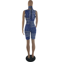 Printed Bandage Cut Out Sleeveless Romper with Triangle Scarf