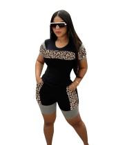 Casual Leopard Stitching Short Set