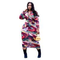 Casual Zipper Print Mid Dress