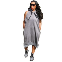 Casual Sleeveless Hoodie Swing Mid Dress