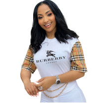 Casual Print Letter Short Sleeve T-shirt Top