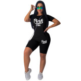 Casual Cotton Printed Sports Two Piece Short Outfits