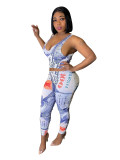 Casual Dollar Print Vest and Pants