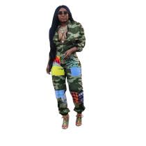 Casual Zipper Printed Jumpsuit