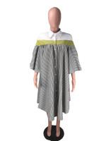Casual Loose Striped Irregular T-Shirt Dress