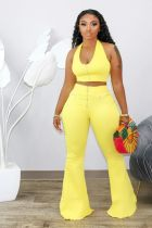 Solid Color Zipper Halter Crop Top and Wide-leg Pant