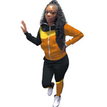 Casual Stitching Contrast Color Hoodie Sports Two Piece Outfits