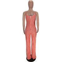 Casual Straps Striped Jumpsuit