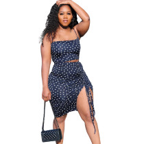 Casual Polka Dot Straps Crop Top and Split Skirt