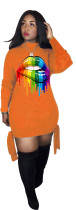 Digital Printed Colorful Lips Long Sleeve Club Dress