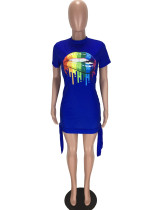 Digital Printed Colorful Cotton Lips Short Sleeve Club Dress