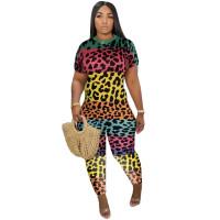 Casual Leopard Print Tie-dye Jumpsuit