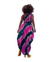 Casual Tie-dye Print Slanted Shoulder Mid Dress