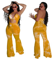 Sexy Hollow Halter Printed Jumpsuit