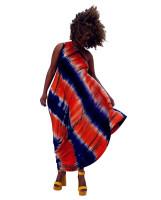 Casual Tie-dye Print Slanted Shoulder Mid Dress