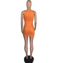 Casual Sleeveless Hole Lip Print Vest Mini Dress