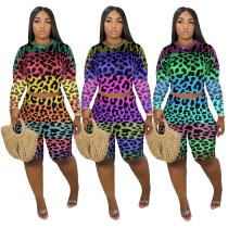 Sexy Leopard Rainbow Two Piece Set