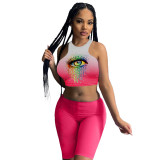 Gradient Eyes Tie-dye Vest and Shorts