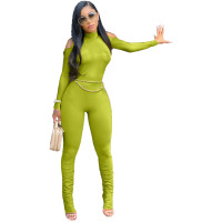 Solid Color Cold Shoulder High Neck Pleated Jumpsuit with Zipper