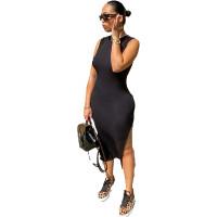 Solid Color Sleeveless Slit Midi Dress