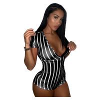 Casual Zipper Striped Romper