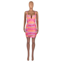 Casual Sleeveless V Neck Mini Pleated Vest Dress