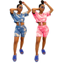 Casual Sports Printed Tie-dye Two Piece Outfits