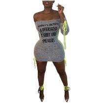 Casual Letter Print Mini Dress