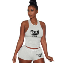 Cotton Printed Letter Breathable Sweatpants Short Set