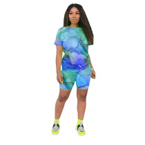 Casual Tie-dye Print Short Pant Set