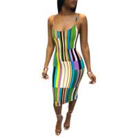 Sexy Colorful Straps Striped Midi Dress