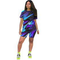 Casual Tie-dye Print Two Piece Short Set