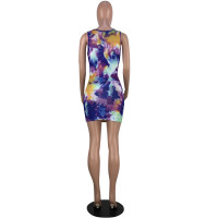 Casual Tie-dye Print Pattern Sleeveless Mini Dress