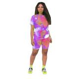 Casual Tie-dye Print Short Pant Set