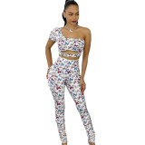 Casual Print Butterfly Two Piece Set