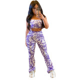 Casual Print Strapless Top and Pant