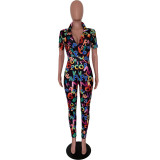 Casual V Neck Printed Jumpsuit