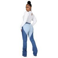 Casual Stitching Contrast Jeans