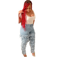 Casual Stacked Tassel Washed Jeans