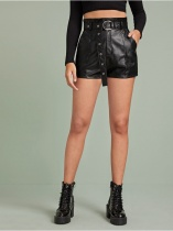 Casual PU Leather Short with Belt