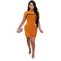 Sexy Letter Print Round Neck Short Mini Dress
