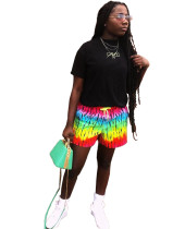 Casual Rainbow Print Shorts with Pocket
