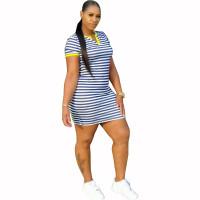 Casual Striped V Neck Mini Dress