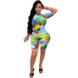 Casual Personalized Map Print Two Piece Short Set