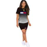 Casual Print Letter Gradient Color Sports Short Set
