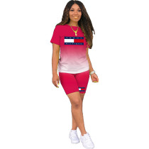Casual Print Letter Gradient Color Sports Short Set