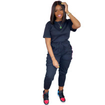 Solid Color Short Sleeve Sports Pant Set