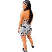 Casual Newspaper Print Straps Sexy Dress
