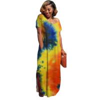 Casual Tie-dye V Neck Slit Hem Maxi Dress