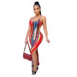 Casual Tie-dye Printed Straps Maxi Dress